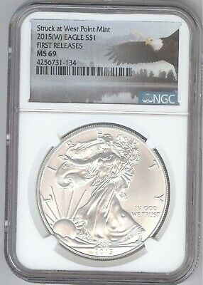 2015(W) American Silver Eagle S$1 + MS 69 + WEST POINT + NGC + No Reserve!