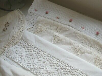 Small lot x 6 of pretty vintage linen tray cloths dressing table country lace