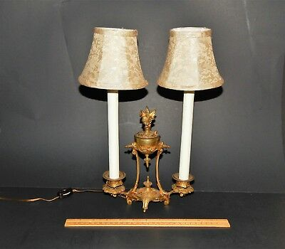 Antique French Bronze Louis XV Style Double Candle Arm Boudoir Lamp Silk Shades