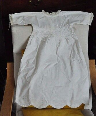 Antique Handmade Edwardian Baby Gown/Dress-Scalloped Hem/Smocking/Embroidered