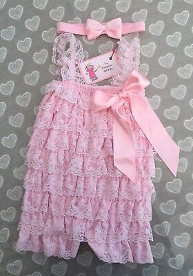 UK Seller Baby Girls Pink Stretch Lace Romper Jumpsuit 0-12 Mths With Bow Band