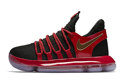 29962d7b657 Nike Zoom KD 10 LE GS Kids Basketball Sneakers Youth Black Red Gold  125