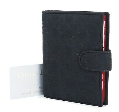 Auth CHRISTIAN DIOR Black Quilted Nylon 6 Ring Agenda Address Book Cover #32007A