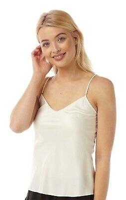 Ladies Satin Reversible Round Neck or V-Neck Camisole Tops 5 Colours 10 - 24