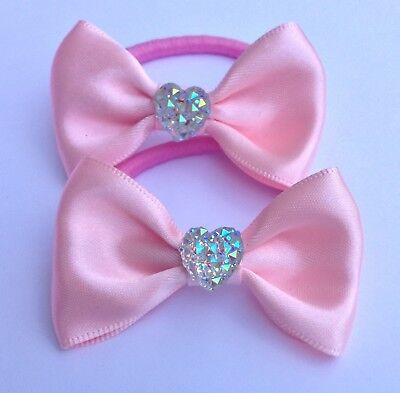 Pair Pink Satin & Diamante Love Heart Hair Bow Elastic Bobbles Girl