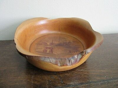 Hand carved natural wood knot bowl. Japanese Mt. Fuji scene