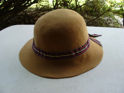 Vintage Handmade Beige Women's Ladies 1950s Hat Decoration Striped Ribbon