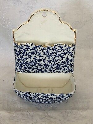 Beautiful Antique Flow Blue Wall Pocket Knowles-Taylor-Knowles (Ktk) 1854-1931