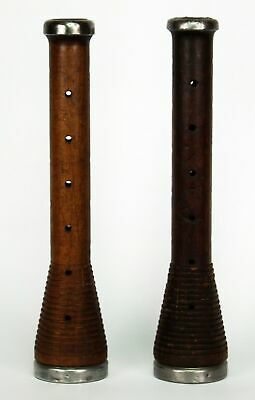 Pair of Antique Wooden Bobbins/Spools with Pewter Caps as Candlesticks