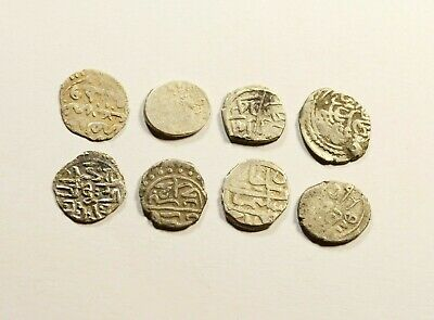 Lot Of 8 Ancient Silver Ottoman Islamic Turkey Coins With Nice Details - 01