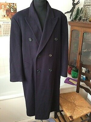 vintage Cecil Gee navy blue 100% soft Cashmere double breasted over coat 40-42 R