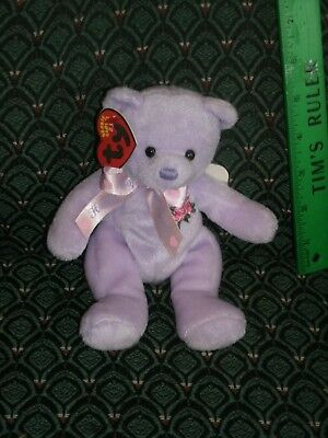 "TY LOVE TO MOM * THE 2.0 BEANIE Purple bear - 6"" LONG - UNUSED CODE- 2008 -MWMT"
