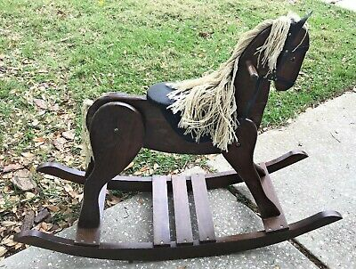 Large Vintage Wooden Rocking Horse Well Made Sturdy Excellent Condition