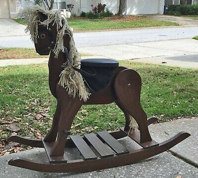 Vintage Wooden Rocking Horse Well Made Sturdy Excellent Condition