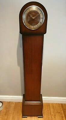 Antique 1930's Oak Smiths Enfield Longcase Chiming Clock with Pendulum and Key