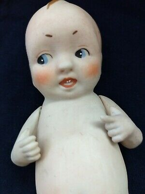 """Antique German Chubby All Bisque Doll 6 """" Side-Glancing Eyes Early"""