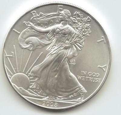 2008  Uncirculated American Silver Eagle  1-Troy oz. .999 Silver. Eagle is Clean
