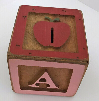 Vintage Wolf Creek Folk Art Wood Block ABC Coin Bank Hand Crafted Multi Colored