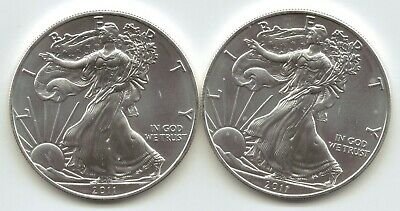 2-2011 Uncirculated American Silver Eagle  1-Troy oz. .999 Silver.