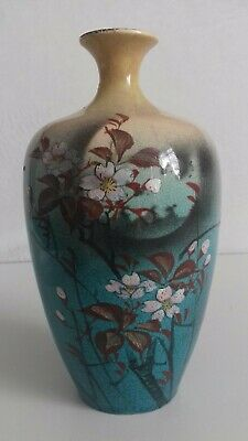 Antique Japanese Hand Painted Floral  Bud Vase