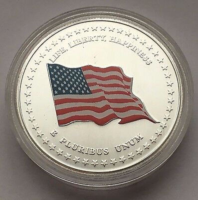 2001 Silver United States Flag 225 Years Old Glory Bald Eagle Silver Round