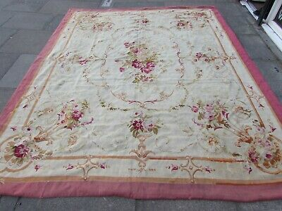 Antique Hand Made Original French Wool Beige Pink Grey Aubusson 312X243cm