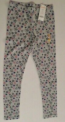 Gymboree Girls Cotton/Spandex Leggings Gray with Stars & Hearts Size Large 10-12