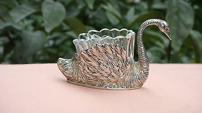 Gorgeous Antique Chester Sterling Silver Swan Salt Cellar With Liner, C.1908