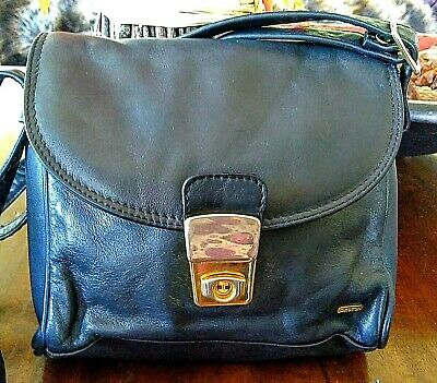 "Vintage ""Oroton"" Navy Blue Leather Cross Body Hand Bag"