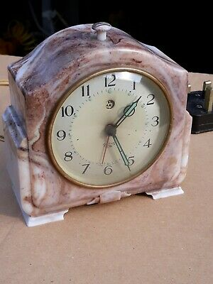 Vintage Art Deco Marble Bakelite Smiths Sectric Electric Alarm Clock. GWO.