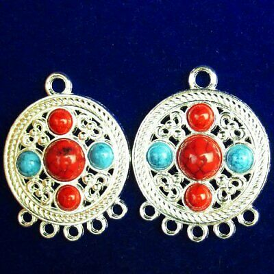 2Pcs Carved Tibetan Silver Inlay Rainbow Turquoise Round Pendant Bead A76620