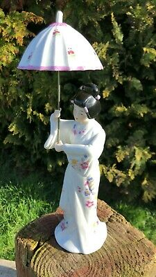 Beautiful Vintage Chinese Oriental Porcelain Ceramic Lady With Umbrella Figure *