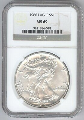 1986 American Silver Eagle S$1 + MS 69 + NGC