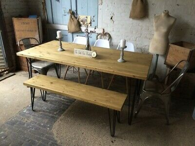 150cm x 90cm Industrial dining room/Kitchen table with hairpin legs.TABLE ONLY.
