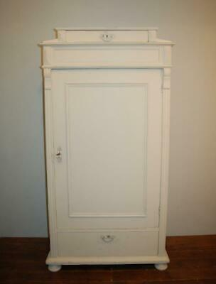 Antique Swedish Pine Tall Boy Storage Cupboard 1840 Small Armoire Linen Storage
