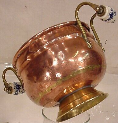 Copper Dutch Planter Holder Delft Blue Handle Brass Candy Jardiniere Pot
