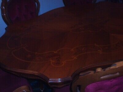 Reproduction Italian inlaid walnut dining table and six chairs