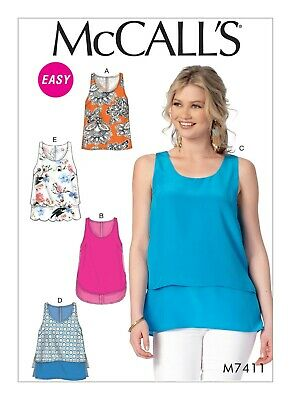 McCall's Sewing Pattern 7411 Misses 16-24 Scoop Neck Tank Tops Overlay Options