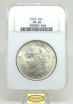 1923 Peace Silver Dollar, Certified by NGC MS65, Old Fat Holder  - #B13731