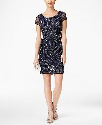 Nwt $290 Adrianna Papell Women'S Blue Beaded Sequined Short Sheath Dress Size 6
