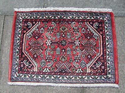 Old Hand Made Traditional Persian Rugs Oriental Wool Pink Red Small Rug 53x75cm