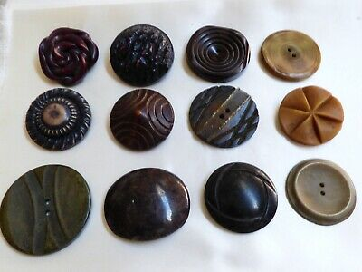 Vintage Antique mixed size lot of 12 buttons Celluloid Bakelite