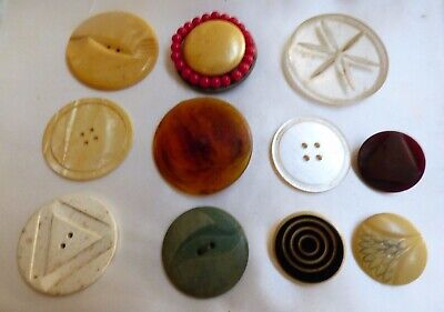 Vintage Antique mixed size lot of 11 buttons Celluloid Bakelite