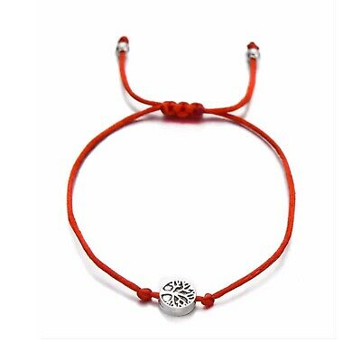 ZARD Wish Lucky Red String Life Tree Charm Adjustable Bracelet Friendship Quote