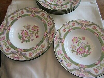 Vintage Mintons England China Soup Bowls 8 Pink Green Chinoiserie