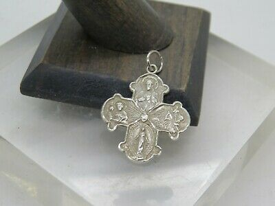 "Vintage Sterling Silver ""I am a Catholic"" Back Four-way Cross 1"" Pendant Medal E"