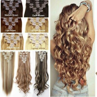 ON CLEARANCE 100% Real Thick Clip in Hair Extensions Full Head Long as Human HUA