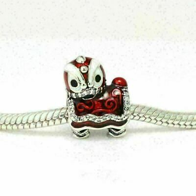 New Authentic Pandora Charms Sterling Silver Lion Red Enamel Bracelet Charm Bead