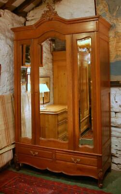 Antique French Solid Oak Mirrored Armoire Lounge Robe Storage Cupboard 1900