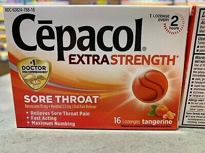 CEPACOL EXTRA STRENGTH Lozenges Tangerine 16 Ct  (Pack of 3